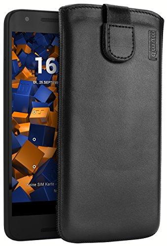 mumbi Echt Ledertasche kompatibel mit LG Nexus 5X Hülle Leder Tasche Case Wallet, schwarz