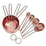 Juego de tazas y cucharas medidoras de acero inoxidable en oro rosa de 8 medidas grabadas, boquillas para verter y espejo pulido para hornear