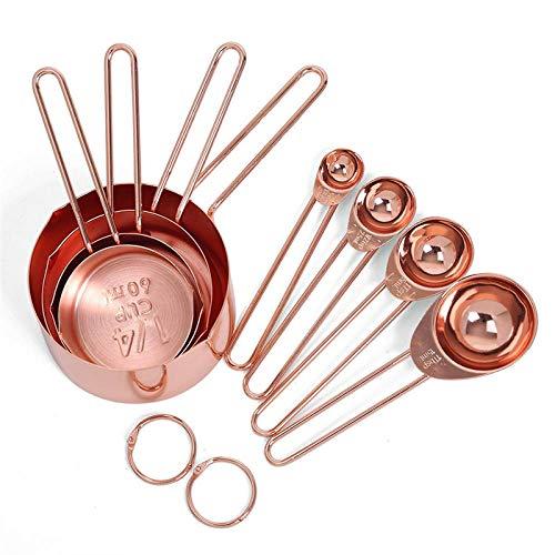 Rose gouden roestvrijstalen maatbekers en lepels set van 8 gegraveerde metingen schenktuiten en spiegel gepolijst voor bakken