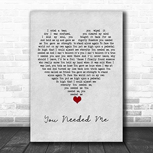 Elyvato #Anne #Murray #You Needed Me Grey Heart Song Lyric Quote Music Print Poster Wall Art Home Decor Gifts for Lovers Painting