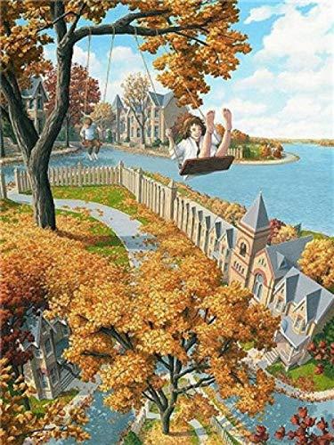 Pintar por Numeros Adultos Columpiarse en un árbol amarillo en otoño DIY Pintura por números con Pinceles y Pinturas Decoraciones para el Hogar 40 X 50 cm Con marco