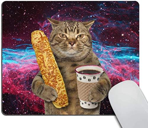 Alfombrilla de ratón con diseño de gato divertido The Cat is Holding a Cup of Black Coffee and a Baguette con diseño de galaxia, rectangular, antideslizante, de goma, para juegos