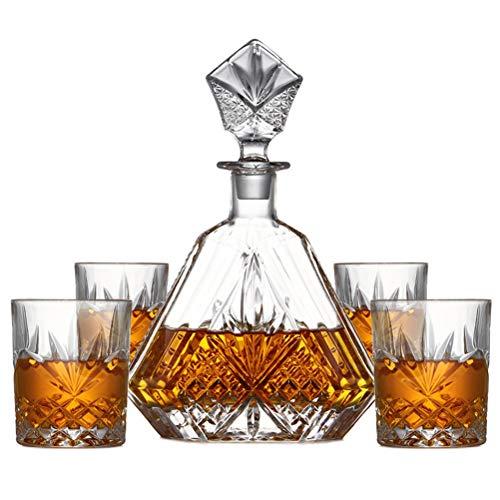 Yousiju Copas de Vino de Cristal sin Plomo 1 Decantador de Diamante + 4 Copas de Whisky grabadas Colección Juegos de Herramientas de Barra Transparente