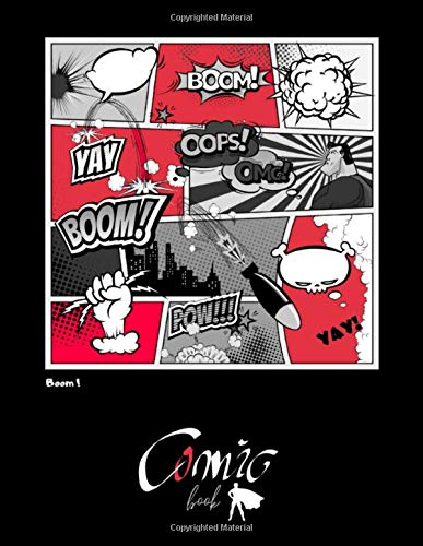 BOOM! Comic BOOK: BLACK PAPER for gel pen. Black interior. 110 pages For Students, Adults and all color lovers. Perfectly for Metallic Gel Pens, ... Drawing, Doodling and growing your creativity