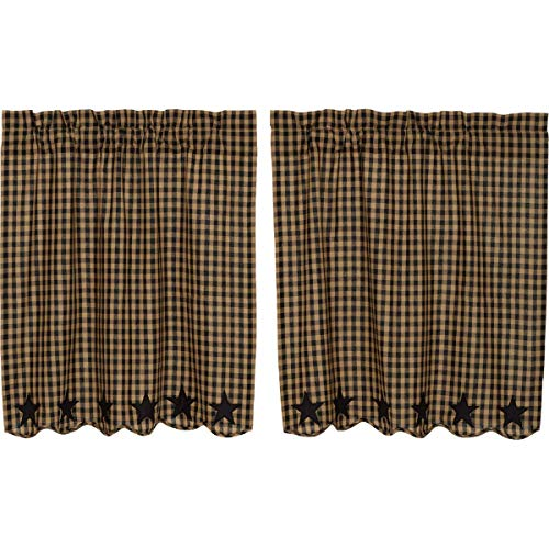 VHC Brands Black Star Scalloped Tier Set of 2 L36xW36 Country Curtains Primitive Rustic Country Curtains, Raven Black and Tan