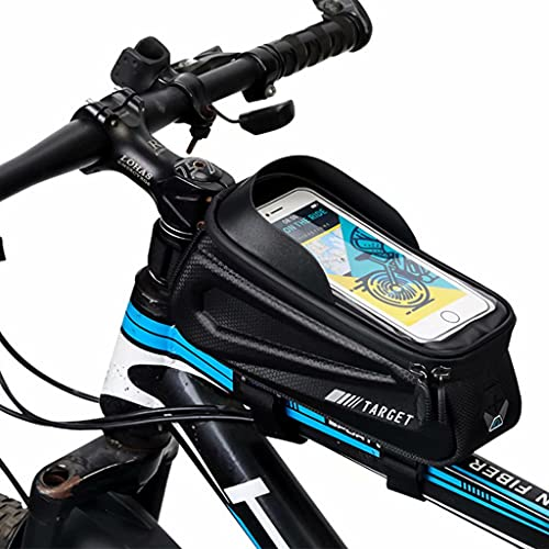 YZX Bolsa Bicicleta, al Aire Libre Portable de múltiples Funciones de la montaña/Camino de la Bicicleta a Prueba de Agua Pantalla táctil de 6 Pulgadas del teléfono móvil Ciclismo Silla Bolsa, Negro