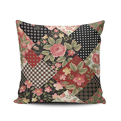 Funda de Almohada Rosa Flor geométrica Punto Raya Enrejado Decorativo Tiro Funda de Almohada Funda de cojín Cuadrado para decoración del hogar sofá Dormitorio