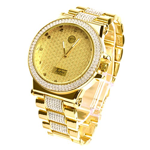 XL 14k Gold Plated Luxury Bling Heavy Metal Band Watches WM 8306 G