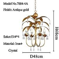 BZM-ZM リビングルームのベッドルームクラシッククリスタルシャンデリアヴィンテージゴールドメタルの葉シャンデリア照明器具アンティーク照明をぶら下げ シャンデリア (Body Color : A D48XH68cm)