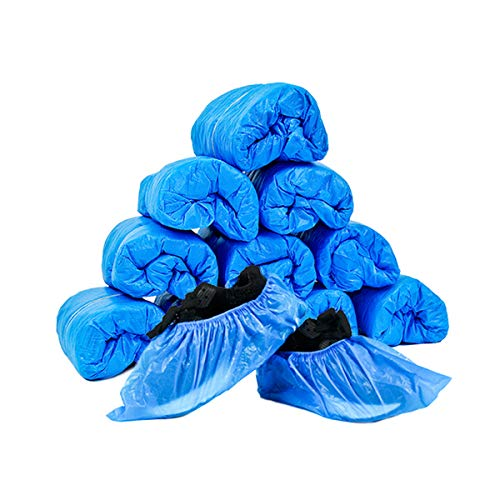 JIAQUAN 100 Pack (50 Pairs) Disposable Plastic Shoe Covers & Boot Covers Waterproof Non-slip for Construction, Workplace, Indoor Carpet Floor Protection,One Size Fits Most.