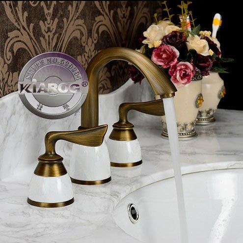 Grifo galvanizado Retro de latón envejecido, grifo de lavabo con doble asa y forma de ala, grifo de agua de 3 agujeros, grifo mezclador de lavabo de baño caliente y frío GY-607, latón