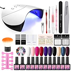 Saint-Acior Lámpara de Uñas UV/LED 36W Curado de Esmalte de Gel Esmalte de Uñas Semipermanente Uñas de Gel Kit de Manicura 10pcs con Base Coat Top Coat Soak off 8ml Manicura Kit