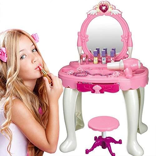 BAKAJI Specchiera per Bambina Make Up con Specchio Luminoso Centro Salone di Bellezza per Bambine con Luci e Suoni Accessori e Cassetto Portagioie Colore Rosa e Bianco