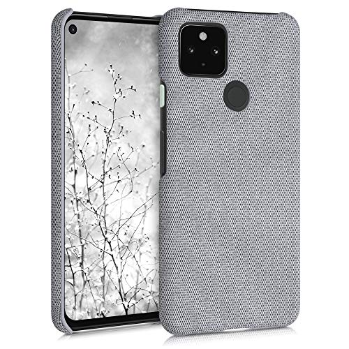 kwmobile Fabric Case Compatible with Google Pixel 4a 5G - Hard Protective Phone Cover with Material Texture - Light Grey -  53569.25