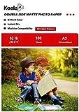 KOALA Papel Fotográfico de Doble cara Mate para Inyección de Tinta A3, 230 g/m², 100 hojas. Adecuado para imprimir Fotos, Portadas, Certificados, Folletos, Volantes, Tarjetas, Calendarios, Artes