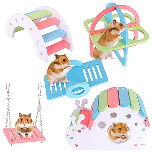RosewineC Packung mit 5 Hamsterspielzeugen, Hamster House DIY Naturholz Regenbogenbrücke Rocker Schaukel- und Trainingsspielzeug Cage Decor Hamsterspielplatz Kleintierspielzeug für Rennmäuse Ratten