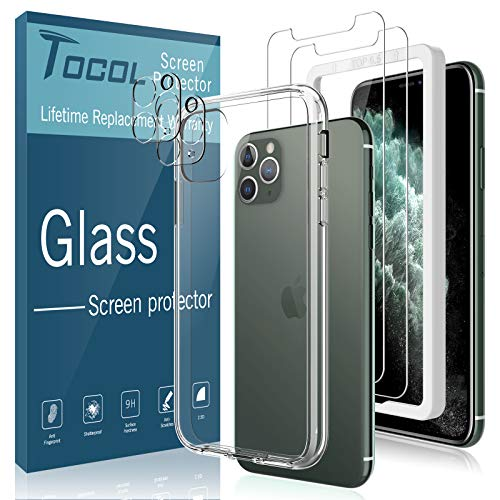 [Total 5Pack] TOCOL for iPhone 11 Pro Max Screen Protector [2Pack] + Camera Lens Protector [2Pack] + Acrylic Case [1Pack] Tempered Glass HD Clear [Shock Absorption] Case Friendly