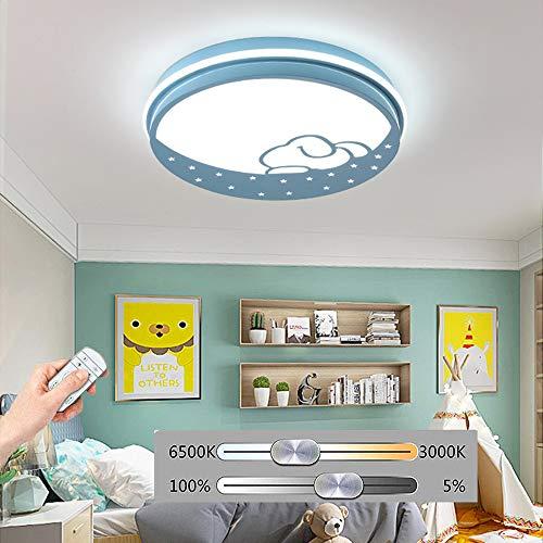 HIL ronde led-plafondlamp, plafondlamp met cartoon-motief, 36 W, dimbaar, decoratieve lamp voor dieren, kinderkamer, eetkamer, kinderkamer, kleuterschool Blauw