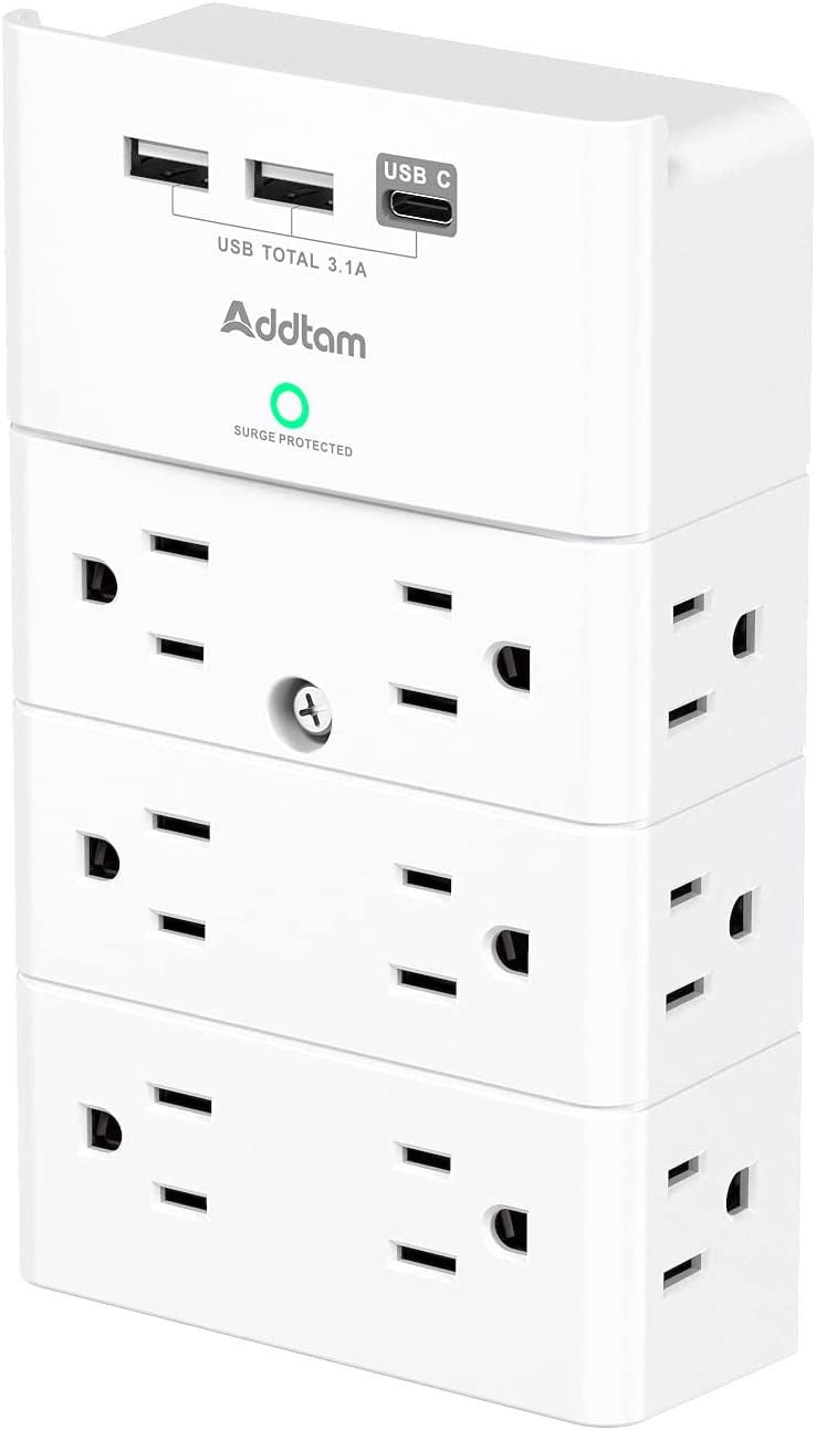 Multi Plug Outlet - Addtam Surge Protector Wall Mount with 12 Outlet Extender- 3 Sides and 3 USB Ports (1 USB-C), Outlet Splitter Power Strip for Home, Office, Hotel, White