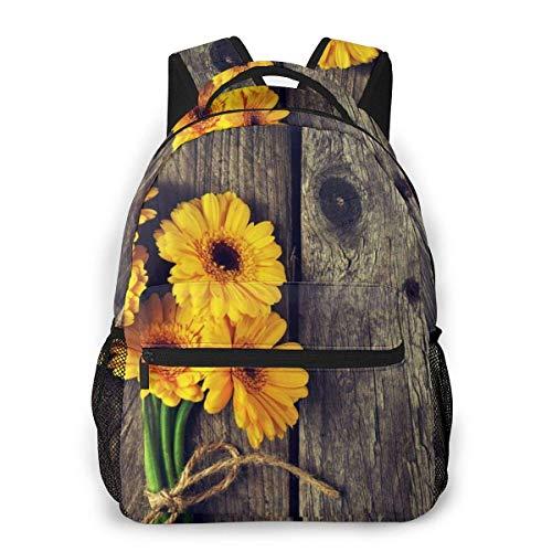Schulranzen,Natürliche Pflanze Sonnenblumen Mit Blättern Auf Holzrucksack, Casual Student Bookbags Für Reisen Klettern Laufen,40cm(H) x29cm(W)