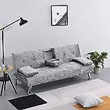 Sofá cama de 3 plazas moderno sofá esquinero con doble soporte de taza para salón sala de estar con mecanismo de clic clack, Lino terciopelo tela piel sintética poliéster, plateado, 3 asientos