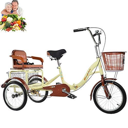 Triciclo Bicicleta de 3 Ruedas para Adultos Triciclo Plegable de 16 '' con cestas para el Asiento Trasero Triciclo para Ancianos Regalos de los Padres Comfort Bike City Transportation Damas