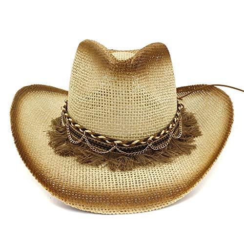 Xuguiping Mode vrouwen mannen stroh cowboy hoed dames outdoor strandhoed zonnecrème gevlochten vierkant vizier zonnehoed 56/58 cm 2