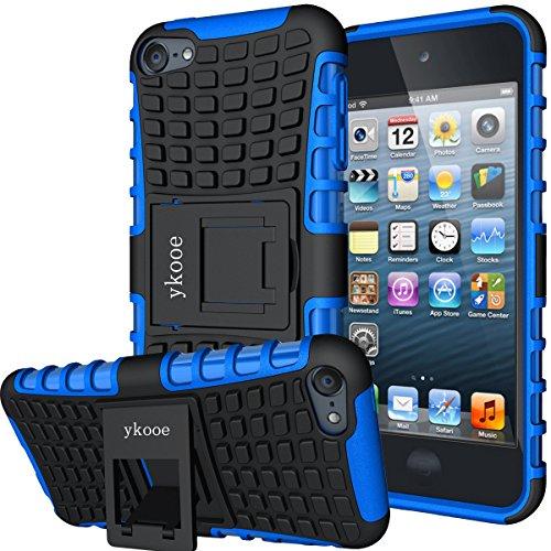 ykooe iPod Touch Hülle für Apple iPod Touch 5/6/ 7 Hülle, (TPU Series) Silikon Stoßfest Touch 6 Schutzhülle Ständer Armor Drop Resistance Schutz Hülle für Apple iPod Touch 5G 6G 7G (Blau)