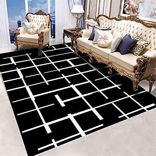 Alfombra Silla Gaming Negro Cuadros Salon Modernos Grandes Impresión de costuras geométricas...