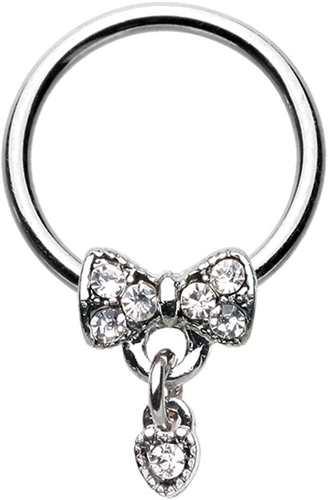 Covet Jewelry Dainty Bow-Tie Dangle Steel Captive Bead Ring