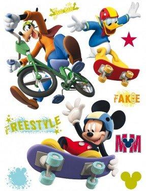 BilligerLuxus Kinder Wandtattoo Wandsticker Micky Mouse Goofy Skateboard