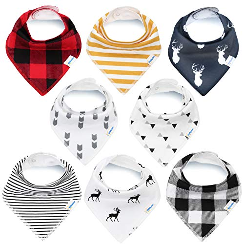KiddyStar Bandana Baby Bib Set, Drool Bibs for Boys and Girls, Baby Shower Gift for Newborns, Organic Cotton, Soft and Absorbent, Stylish and Unisex, for Drooling and Teething (Bandana Bibs)