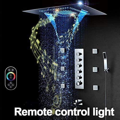 OPXZPM Douchekraan Muziek Douchesysteem LED Douchekop 800 * 600 mm Badkamer Kraan Plafond Regendouche Paneel Badkraan, Afstandsbediening