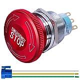 Gebildet Interruptor de Botón de Parada de Emergencia con Cierre de Metal de Acero Inoxidable de 22 mm 12-220V 3A 1NO 1NC con Enchufe de Conexión