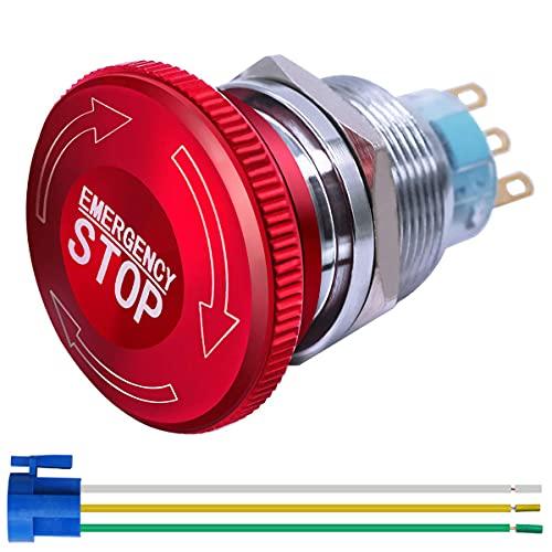 Gebildet Interrupteur à Bouton-Poussoir D'arrêt d'urgence à Verrouillage en Métal en Acier Inoxydable 22mm 12-220V 3A 1NO 1NC avec Prise de Connexion