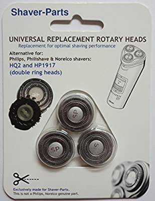 Alternative Shaving Heads: HQ2 / HP1917 Rota Action (2 pronged shaft), suitable (fits) for older Philips / Philishave / Norelco shavers