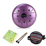 ammoon Handpan Steel Drum de 5,5 pouces en Acier 8 Notes C-Key avec Maillets Sac de Transport pour Méditation Yoga Education Musicale Zazen (Violet)