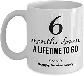 6 Month Anniversary Gifts for Boyfriend - Six Month Anniversary Gifts for Girlfriend - Happy Anniversary Coffee Mug for Him Her Men Women Couple Friend Lesbian Gay Long Distance