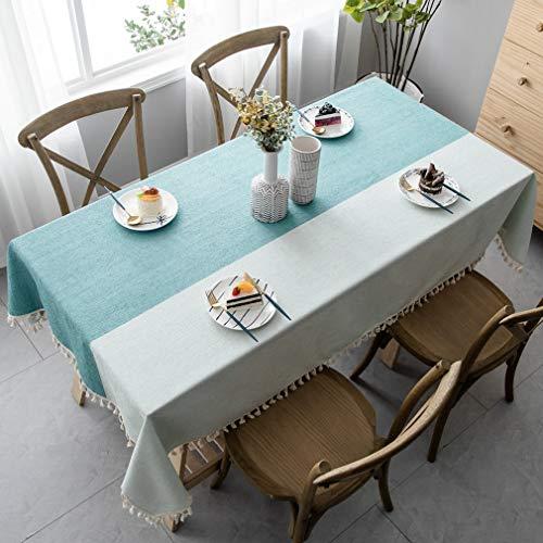 Pahajim Manteles de Algodon Mesa Estilo Simple Manteles Mesa Rectangular con Borla Diseñada Empalme a Rayas Decoración de Mesa de Jardín(Rectangular/Oval, 140 x 220cm)