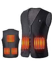 612 Elektrisk värmningsväst, herr och dam USB tvättbar vattentät jacka, 3 kugghjul justerbar temperatur och 5 värmezoner, utomhusresor sport