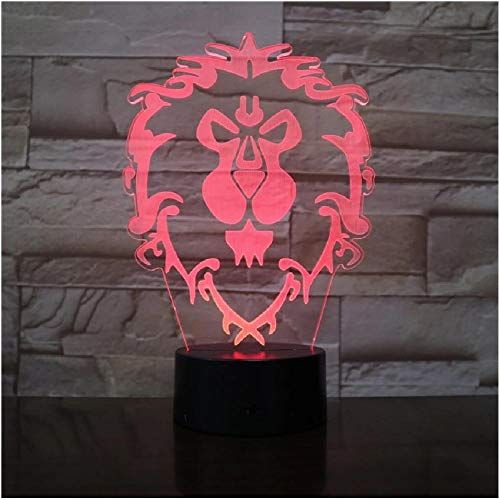 Modelo Lion 3D Illusion Nightlight Led Colorful Flash Touch Light Lámpara de escritorio Juego Figura Juguetes