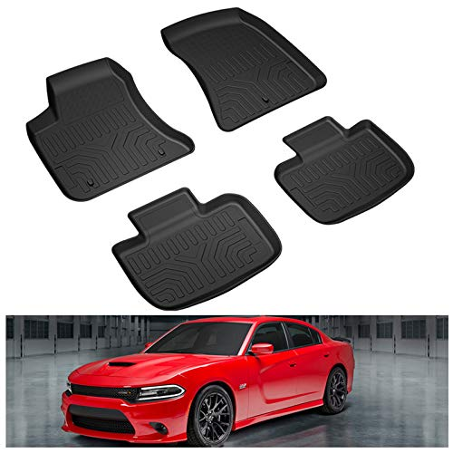 KIWI MASTER Floor Mats Compatible for 2011-2021 Dodge Charger RWD / Chrysler 300 RWD Accessories All Weather Mat Liners Front & 2nd 2 Row Seat TPE Slush Liner Black
