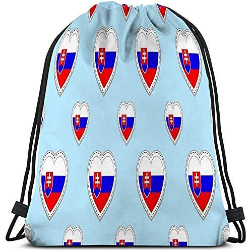 Arvolas Kordelzug Sport Rucksack Slowakei Fahnen Slowakische Flagge Stikers Love Hearts Symbole Gute Wahl Sportseiten Travel Creative