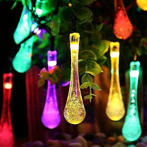 Lámpara de jardín de 4 m con 20 ledes para exterior, cadena de luces solares con forma de gota, para Navidad, bodas, fiestas