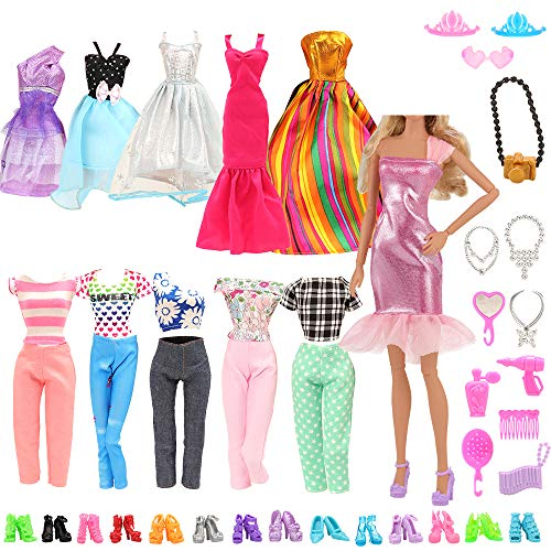 Barwa® Random Style 5 Sets Fashion Casual Wear Clothes/outfit with 10 Pair Shoes for Barbie Doll Xmas Gift