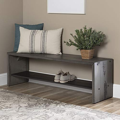 Walker Edison Furniture Company Rustic Solid Wood Entryway Dining Bench, 58 Inch, Grey