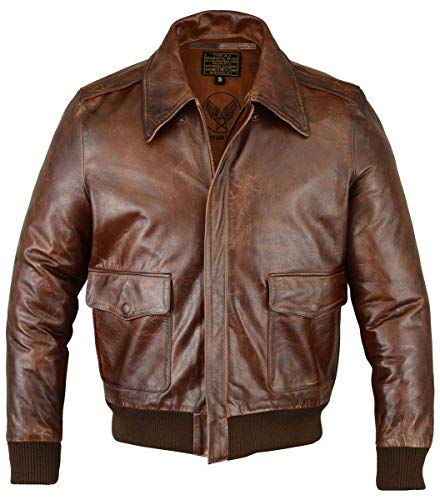 FIVESTAR LEATHER Men's Air Force A-2 Leather Flight Bomber Jacket - Brown (L)