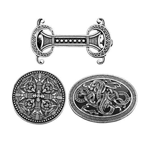 Sharplace 3 Lote Vintage Vikingo Nórdico Broche Celta Abrigo Chal Suéter Cuello Broche