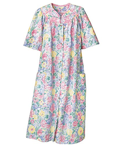 National Trapunto Yoke House Coat, Multi Floral, 1X