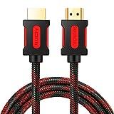 Shuliancable Cavo HDMI, Cavo HDMI Alta Velocità con Ethernet,Supporta HD1080p 3D HDR ARC CEC, Cavetto HDMI Compatibile Nintendo Switch, PS3, Xbox, TV Box, TV, Proiettore (10M Red Black)
